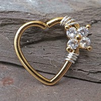 16 Gauge Heart Gold Daith Hoop Ring Rook Hoop Cartilage Helix
