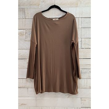 Boat Neck Tunic Top- Brown