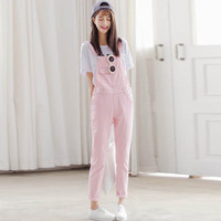 Vintage Overalls Women Denim Jeans 2016 New Casual Summer Overalls Pink White Black Denim Overalls Trousers WYS12