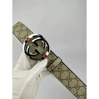 GUCCI  trend new double G buckle men and women models wild smooth buckle belt silver