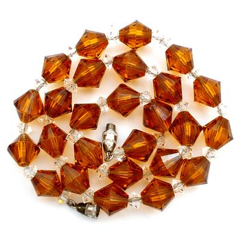Amber Glass Bead Necklace Vintage