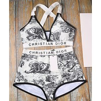 DIOR Beach Fashionable Women Retro Print Two Piece Bikini Swimsuit Bodysuit