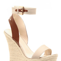 Beige Faux Leather Ankle Strap Espadrille Wedges