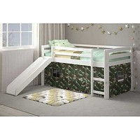 """41"""" X 81"""" X 46"""" White Solid Pine Camo Tent Loft Bed with Slide and Ladder"""
