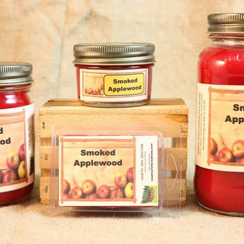 Smoked Apple Wood Candles and Wax Melts, Highly Scented Nature Candle and Wax Tarts, Great Fall Scented Candle, Housewarming Gift