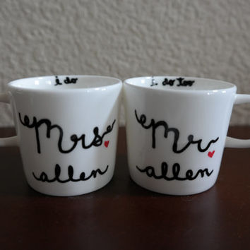 Mr and Mrs Espresso Cups, Wedding Gift, Anniversary Gift, Newlyweds, Wedding Registry, Engagement Gift, Couples Shower, Bridal shower gift
