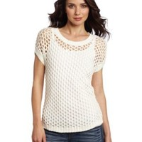 Vince Camuto Women's Open Mesh Stitch Sweater, New Ivory, Small