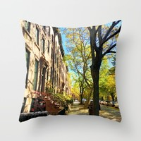Cobble Hill Brooklyn New York in the Fall, Brownstones Throw Pillow by ANoelleJay