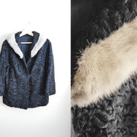 Vintage 60 Silver Mink Fur Persian Lamb Curly Coat Jacket Winter