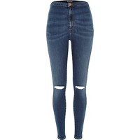 River Island Womens Mid wash ripped knee superskinny tube pants