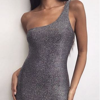 Hot sale sexy fashion one-shoulder gold and silver bright color hip dress