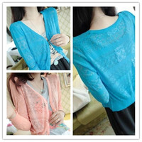 New Spring Summer Ladies Hollow-out Knitted Cardigan Long Sleeved Casual  Fashion  Sunscreen Thin Sweater (Size: M, Color: Light gray) = 1945824004