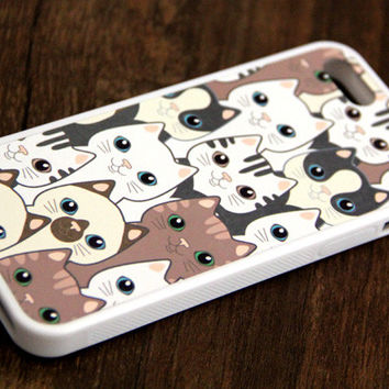 Free Shipping Cute Cats iPhone 6 Plus iPhone 6 iPhone 5S iPhone 5C iPhone 5 iPhone 4S/4 Rubber Case