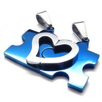 KONOV 2pcs Mens Womens Couples Heart Puzzle Stainless Steel Pendant Love Necklace, 18 & 22 inch Chain
