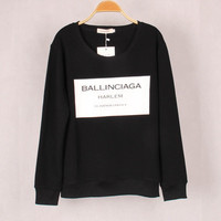 "SIMPLE - Black ""ballinciaga"" Long Sleeve Sweater Sweatshirt b4219"