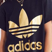 adidas Originals Gold Trefoil Tee   Urban Outfitters