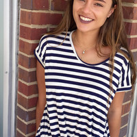 Lose It Striped Top - Navy