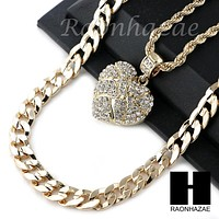 "MENS BLING HEART PENDANT DIAMOND CUT 30"" CUBAN CHAIN NECKLACE SET G31"