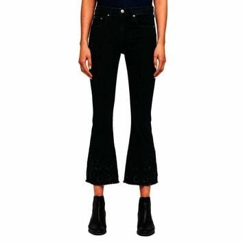 Rag & Bone/JEAN Embroidered Black Cropped Flare Jeans