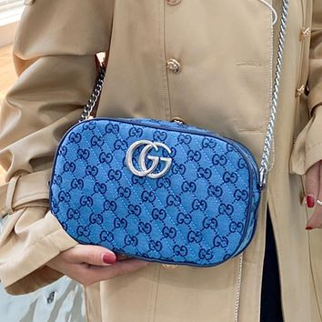 GG canvas embroidered letters ladies cosmetic bag shoulder bag chain messenger bag