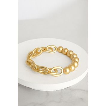 Chain and Beads Bracelet in Gold Tone
