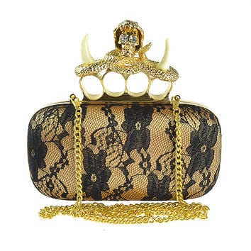 2015 Unicorn Skull Knuckle Ring Box Lace Clutch