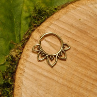 Brass septum ring 1.2mm 16g, tribal lotus tragus cartilage gold hoop wire pierced nose