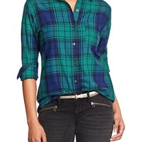 Women's Plaid Flannel Boyfriend Shirts