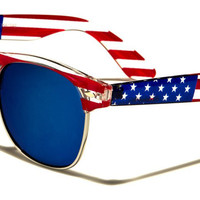American Flag Sunglasses with Blue Mirrored Lenses