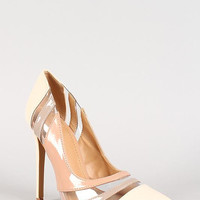 Shoe Republic Tri-Tone Patent Clear Panel Pointy Toe Pump Color: Nude, Size: 6.5