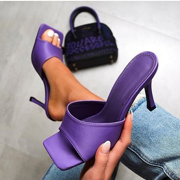 2020 fashion high heels new stiletto sandals and slippers purple