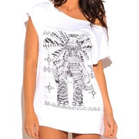 Studded Elephant Graphic Print Tunic Top in White & Black