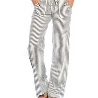 White & Black Stripe Linen-Blend Lounge Pants