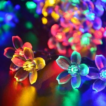 lederTEK Flower Solar Powered Lights Multi-color 50 LED 21ft Decorative Blossom Fairy String Light for Garden, Lawn, Patio, Tree, Holiday, Party, Home, Indoor, Outdoor Decorations, Valentines Day