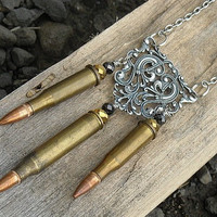 Bullet Necklace Bullet Casing Necklace Brass by InkandRoses13