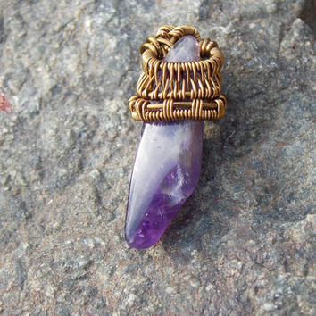 Amethyst Wire Wrapped Pendant with Copper // Elegant Simple Jewelry