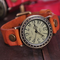 Leather Wrist Watch for Man & Woman (WAT0037-BROWN)