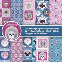 Get Well Digital Papers Dogs Feeling Ruff Dogs At The Vet Cone Of Shame Bandaid Patterns Dog Scrapbooking Paper Dog Illness Get Better Soon