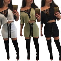Straps Loose T-shirt with Short Skirt Two Pieces Dress Set