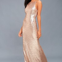 Chic Celebration Champagne Sequin Maxi Dress
