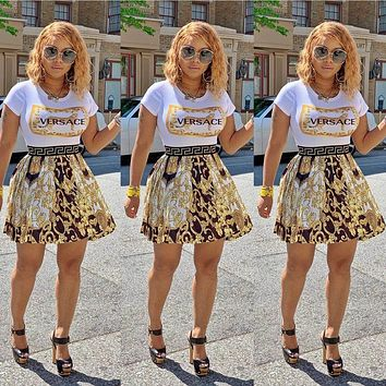 VERSACE Summer Fashion Women Casual Print Short Sleeve Top Skirt Two Piece Suit