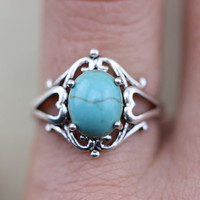 Sleeping Beauty Blue Sky TURQUOISE Navajo Arizona Spirit Inspired oval stone ring