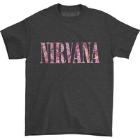 Nirvana Men's  Floral Logo T-shirt Dark Heather
