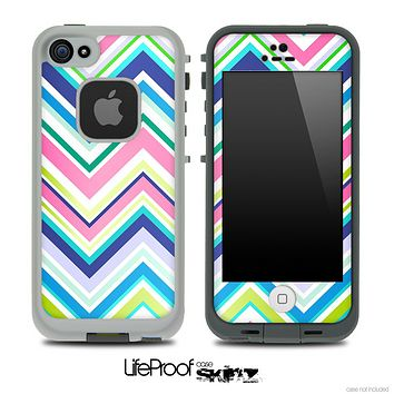 Vibrant Pink & Blue Layered Chevron Pattern V4 Skin for the iPhone 5 or 4/4s LifeProof Case