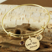 I Love You Mama Bangle Bracelet in Gold - Alex and Ani Style