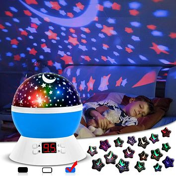 Night Lights for Kids, Star Light Projector with Timer Setting for Baby, Toddler Bedroom Decor, Boys and Girls Gift (Blue) Blue