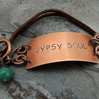 Gypsy Soul Boho Bracelet, Copper, Brown Leather, Turquoise Beads, Hand Stamped, Free Spirit