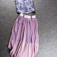 Casual Floral Crop Top And Asymmetrical Midi Skirt
