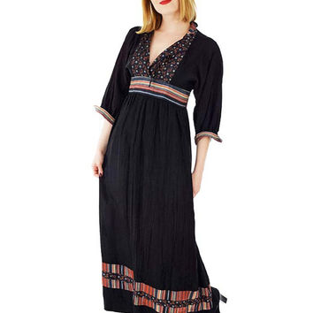 70s Black Border Print Empire Maxi Dress-S/M Sharon's World-Bohemian Chic Maxi- 1970s Rich Hippie Dress-B Altman-Sharon Rothfeld