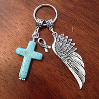 Christian Keychain, Keychain, Cancer Awareness Keychain, Cowgirl Keychain, Turquoise Cross and Angel Wing Pendant